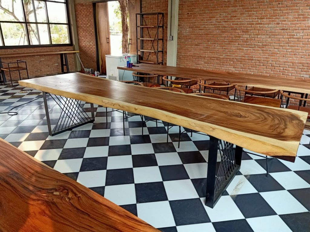 one piece wood slab resturant table