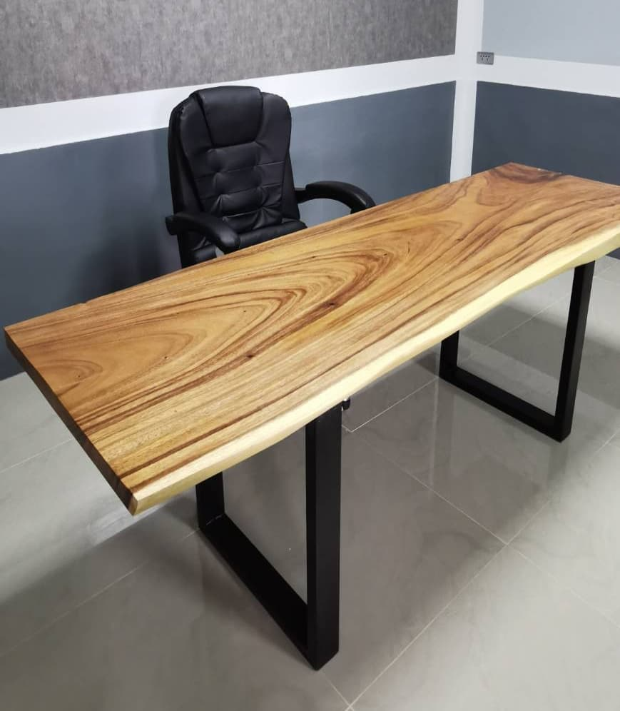 live edges solid wooden desk