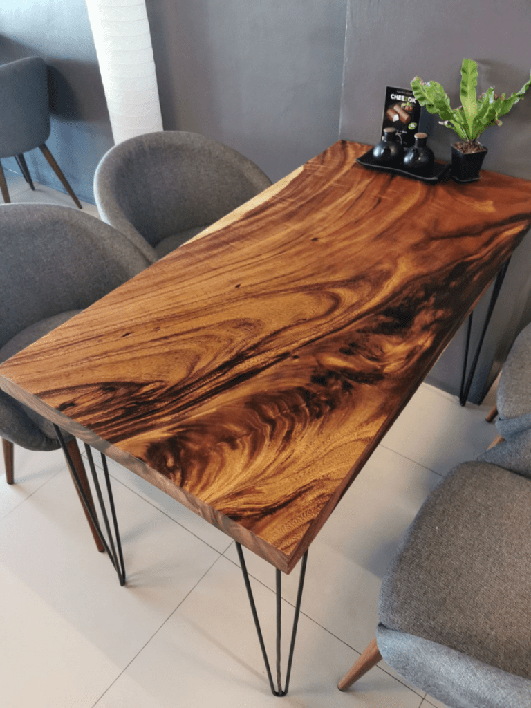 wood slab table with steel hairpin legs