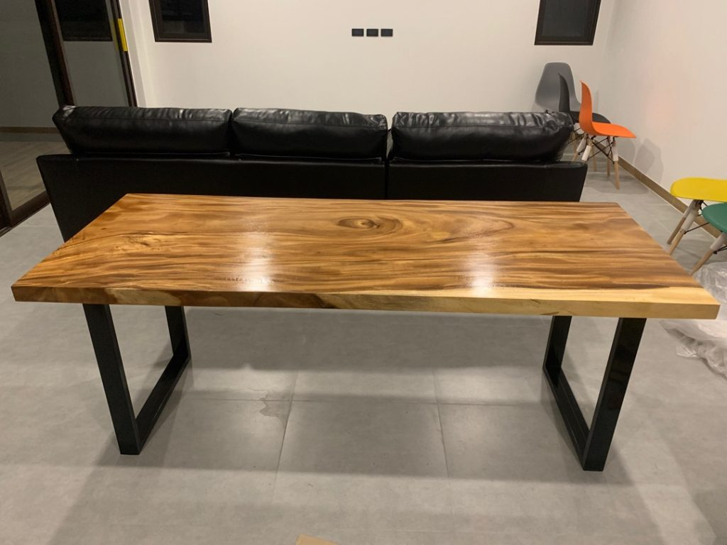 wood slab conference table